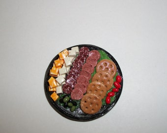 Dollhouse Miniature Handcrafted Deli Meat & Cheese Holiday Party Platter ~ Fake Doll Food - reference Barbie Hand for size 1275