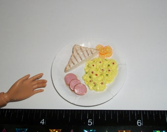 Dollhouse Miniature Handcrafted Toast & Eggs Breakfast with Ham Food for the Doll House - reference Barbie hand for size 1224