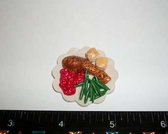 New Dollhouse Miniature Thanksgiving Christmas Holiday Turkey Green Beans Bread Rolls Dinner Plate 34mm ~ Fashion Doll Fake Food 1289