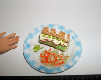 Dollhouse Miniature Handcrafted Ham & Cheese Sandwich with Pickles, Carrot Salad ~ Food for the Doll House ~ reference Barbie hand 1220