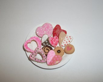 Miniature Valentine's Day Cookies, Dollhouse Dessert Food, Fashion Size Doll -see Barbie Hand for reference to size 810