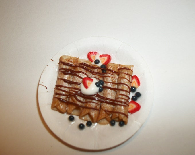 Featured listing image: Dollhouse Miniature Chocolate Drizzled Crepes  / Handcrafted Doll Dessert Breakfast Food ~ reference Barbie hand for size 1209