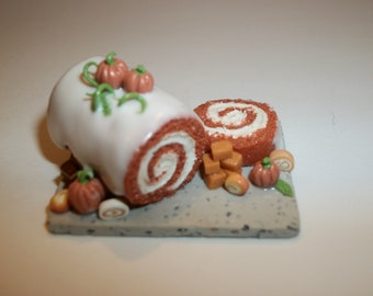 Dollhouse Miniature Pumpkin Cake Roll / 1:6 Play Scale / Doll Dessert Food ~ see Barbie hand for reference to size 1102