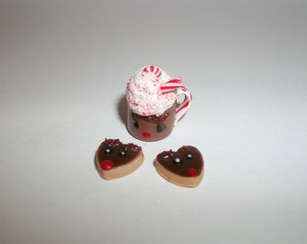 Dollhouse Miniature Christmas Drink & Reindeer Cookies / Dessert Doll Fake Food - reference Barbie hand for size 1714