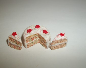 1:12 One Inch Scale Dollhouse Miniature Christmas Confetti Dessert Cake Doll Food 1423