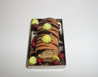 Dollhouse Miniature Handcrafted Lemon Cherry Chocolate Drizzle Dessert Cake Roll Doll Food