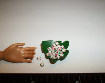 Christmas Candy Dish, Dollhouse Miniature Dessert Fake Food -see Barbie Hand for reference to size 1701