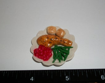 New Dollhouse Miniature Thanksgiving Christmas Holiday Turkey Green Beans Bread Rolls Dinner Plate 33mm ~ Fashion Doll Fake Food 1287