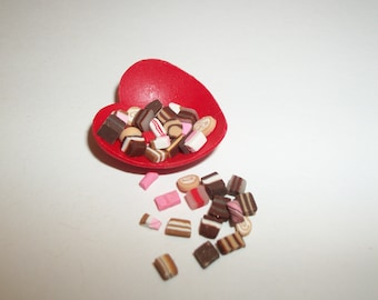 Valentine's Doll Food Candy, Dollhouse Miniature Dessert -see Barbie Hand for reference to size 1505