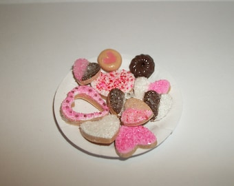 Valentine's Miniature Cookies, Dollhouse Dessert Food, Fashion Size Doll -see Barbie Hand for reference to size 815