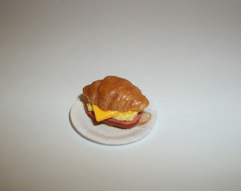 Dollhouse Miniature Ham Egg Cheese Croissants / Handcrafted Doll Dessert Breakfast Food ~ reference Barbie hand for size 1227
