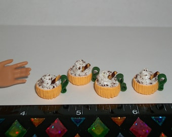 Dollhouse Miniature 4 Autumn / Fall Pumpkin Cup Spice Doll Dessert Drinks Fake Food ~ reference Barbie Hand 1502