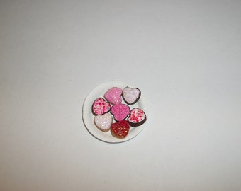 Dollhouse Valentine's Cookies, Miniature Dessert Doll Food 809