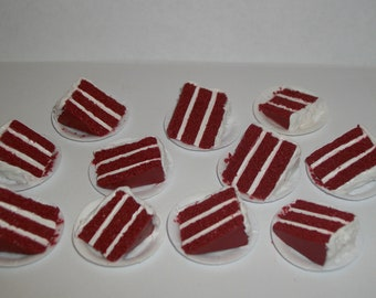1:6 Play Scale Dollhouse Miniature Handcrafted Christmas Holiday Red Velvet Cake Slice Dessert Food Doll ~reference Barbie Hand for size 757