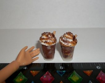 Dollhouse Miniature 2 Small Chocolate Caramel Doll Dessert Smoothie Drinks Fake Food ~ reference Barbie Hand for size 1506
