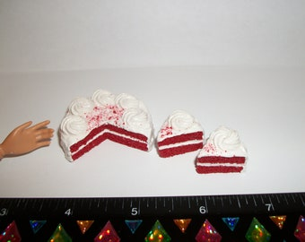 1:6 Play Scale Dollhouse Miniature Handcrafted Valentine's 2 Layer Red Velvet Dessert Cake Doll Food - reference Barbie hand for size