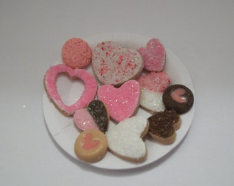 Valentine's Cookies, Dollhouse Miniature Dessert Food, Fashion Size Doll -see Barbie Hand for reference to size 816