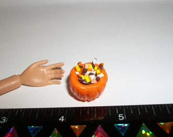 Dollhouse Miniature Handcrafted Autumn / Fall Small Candy Pumpkin Dessert Dish ~ see Barbie hand for reference to size 710