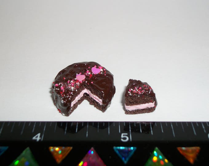 Featured listing image: 1:12 One Inch Scale Dollhouse Miniature Handcrafted Valentine's Day Dessert Cake Doll Food