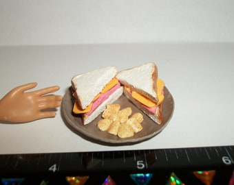 1:6 Playscale Dollhouse Miniature Handcrafted Sliced Ham & Cheese Sandwich ~ Food for the Doll House ~ reference Barbie hand for size 981
