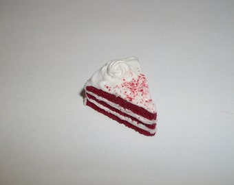 1:6 Play Scale Dollhouse Miniature Christmas Holiday Red Velvet Cake Slice Dessert Food Doll ~reference Barbie Hand for size 1516