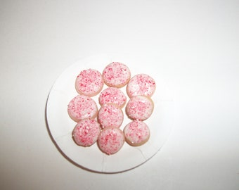 Dollhouse Miniature Christmas Peppermint Cookies / Doll Fake Food ~reference Barbie hand for size 787