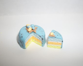 1:12 One Inch Scale Dollhouse Miniature Handcrafted Layered Speckled Easter Egg Dessert Cake