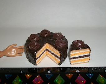 1:6 Playscale Dollhouse Miniature Handcrafted Autumn / Fall Layer Dessert Cake ~ see Barbie hand for reference to size