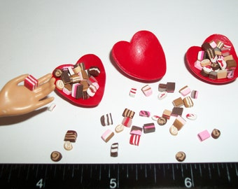 Valentine's Doll Food Candy, Dollhouse Miniature Dessert -see Barbie Hand for reference to size 819