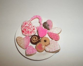 Valentine's Miniature Cookies, Dollhouse Dessert Food, Fashion Size Doll -see Barbie Hand for reference to size 814