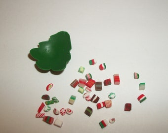 Miniature Christmas Candy, Dollhouse Dessert Fake Food Dish -see Barbie Hand for reference to size 1504