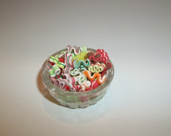 Dollhouse Miniature Christmas Ribbon Candies / Doll Food Dessert ~ reference Barbie / Fashion Doll hand for size 1103