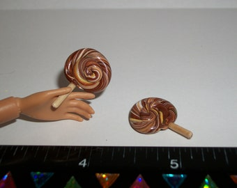 Dollhouse Miniature Handcrafted Candy Lollipops ~ Food for the Doll House ~ reference Barbie hand for size 974