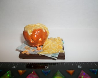 New Dollhouse Miniature Handcrafted Autumn / Fall Pumpkin Carving Doll Food Tray