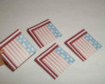 Miniature July 4th Napkins / 1:6 Play Scale / Dollhouse Handcrafted 800
