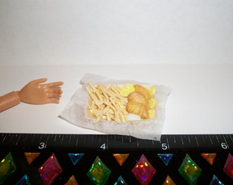 Dollhouse Miniature Handcrafted Fish French Fries Lemons & Tartar Sauce ~ Food for the Doll House ~ reference Barbie hand 1117