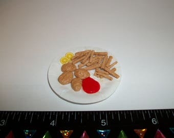 Dollhouse Miniature Handcrafted Chicken Nuggets with French Fries Food for the Doll House 1104