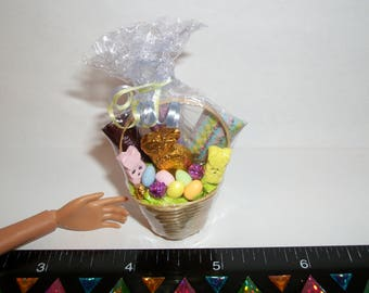 Dollhouse Miniature Handcrafted Easter Egg Dessert Basket Food for fashion sized dolls - reference Barbie hand for size #1430