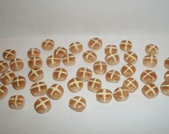 Dollhouse Miniature Handcrafted Easter Hot Cross Buns Dessert Bread Rolls Doll House Food 1152