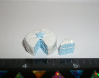1:12 One Inch Scale Dollhouse Miniature Handcrafted July 4th Independence Day Patriotic Dessert Cake Doll Food