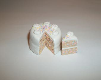 1:6 Play scale Dollhouse Miniature Handcrafted Confetti Dessert Cake Doll Food