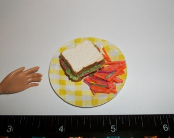 Dollhouse Miniature Handcrafted Ham & Cheese Sandwich with Carrot Salad ~ Food for the Doll House ~ reference Barbie hand 1132