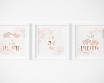 First we had each other then we had you Print, Elephant Nursery, Girls Nursery Art, Nursery Print, Rose Gold Nursery, Copper Nursery Decor