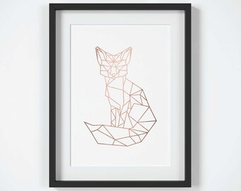 Fox Art Print Copper Wall Rose Gold Room Decor Geometric Printable Modern