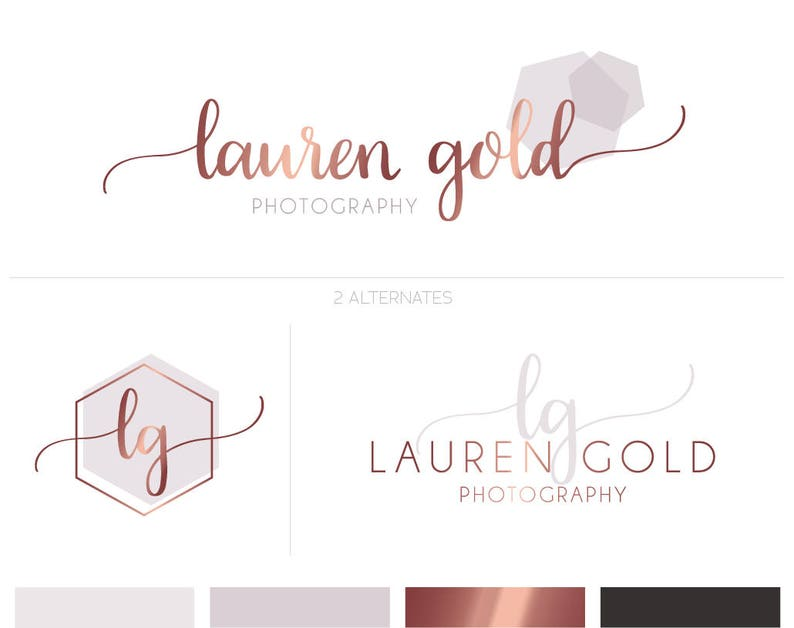Rose Gold Logo Rose Gold Branding Kit Modern Logo Premade Etsy