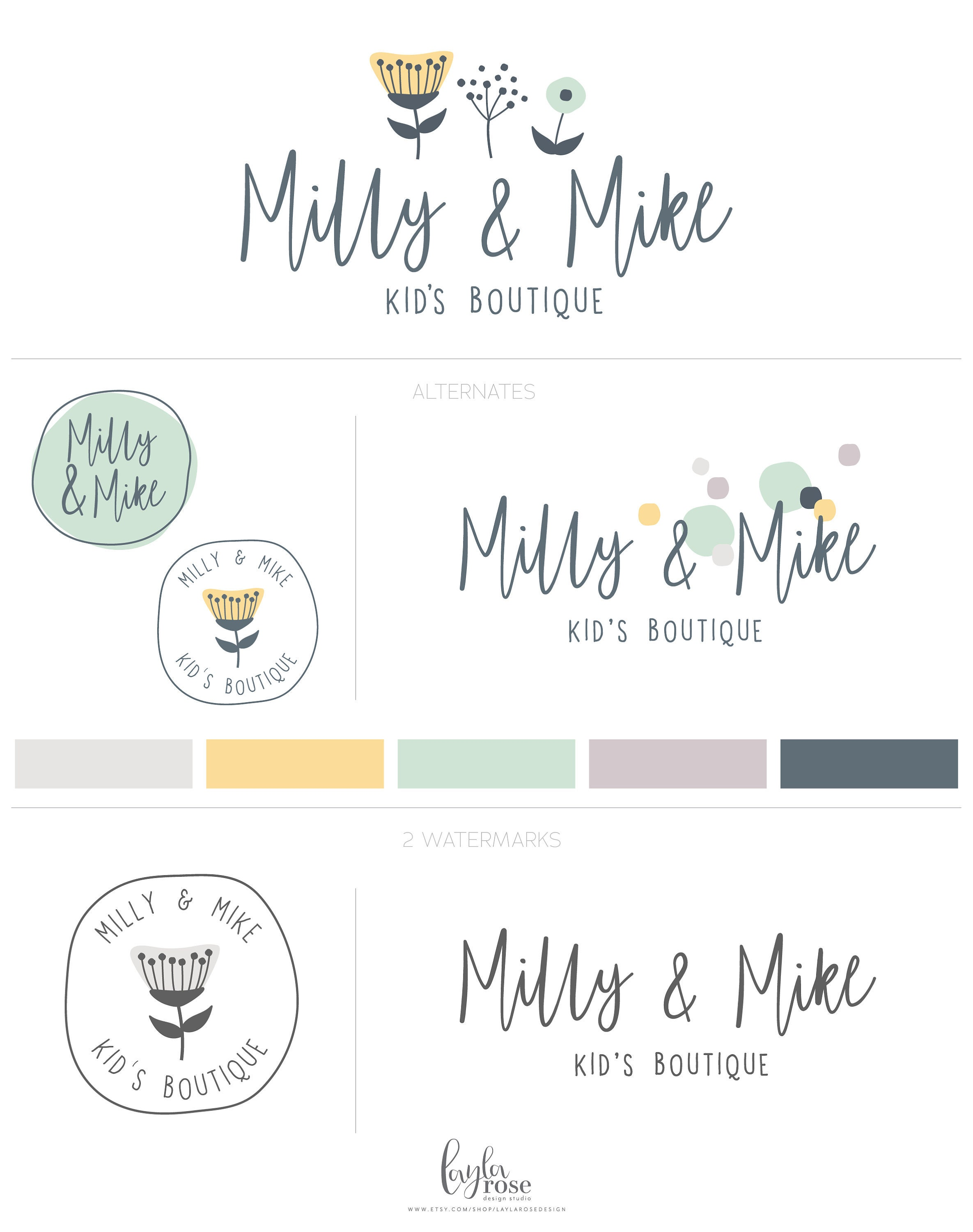 Cute Logo Baby Boutique Logo Childrens Branding Fun Logo Etsy