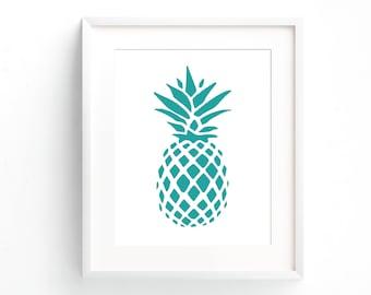 Pineapple Print, Printable Wall Art, Wall Art Print, Pineapple Wall Print, Teal Pineapple Print, Modern Wall Art, Pineapple Art