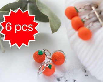 Stitch Markers Set 6pcs, Mandarin Charm, Knitting Helper, Miniature Food Jewelry, Knitters Gift Food Miniature Charms Polymer Clay Charm