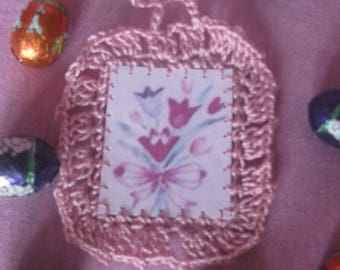 Card with crochet Edge Easter (flower bouquet)