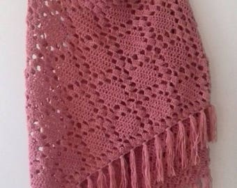 Pink shawl, scarf, large pink scarf vintage look, classic shawl